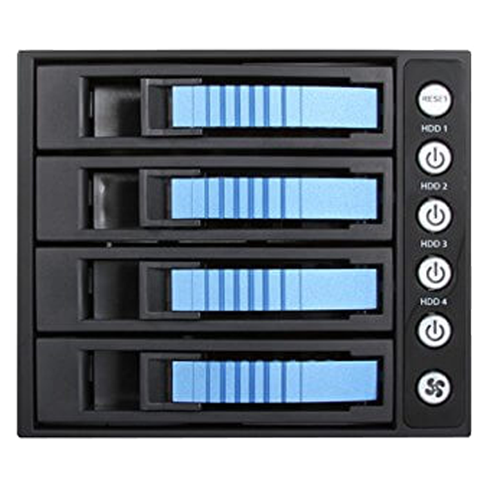 "BPU-340SATA, 3x 5.25"" to 4x 3.5""/2.5"", SAS/SATA 6Gb/s, SSD/HDD, Blue Hot Swap Module"