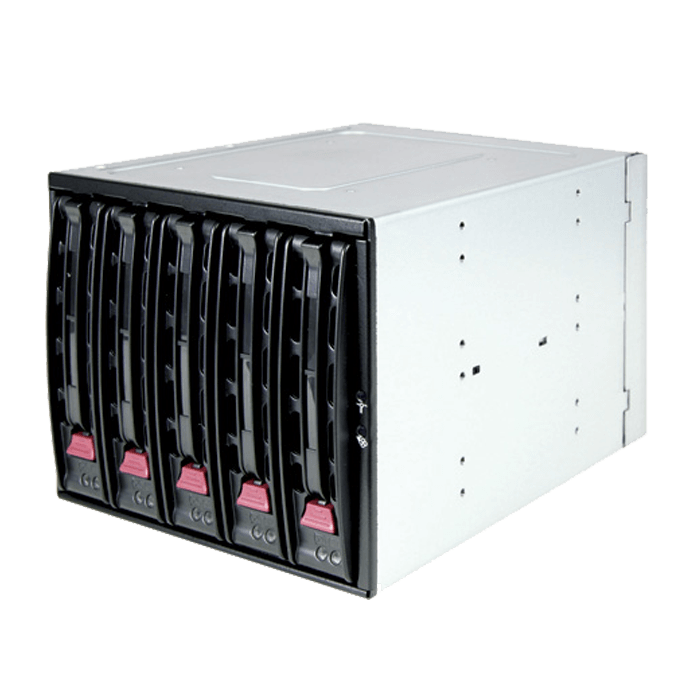 "CSE-M35TQ Black SAS/SATA Hot-Swap Mobile Rack, 5x 3.5"" Hard Drives, 3x 5.25 Bays"