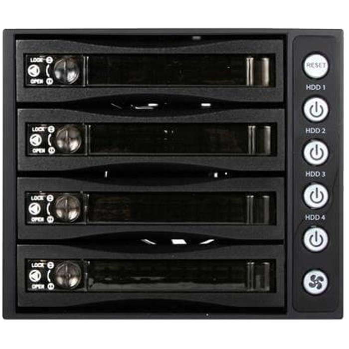 "BPU-340SATA, 3x 5.25"" to 4x 3.5""/2.5"", SAS/SATA 6Gb/s, SSD/HDD, Black Hot Swap Module"