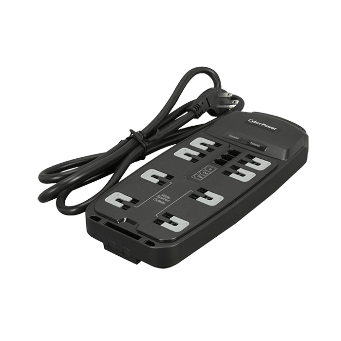 CSP806T, 8 Outlets, 6-ft cord, 125V/15A, Black, Surge Protector
