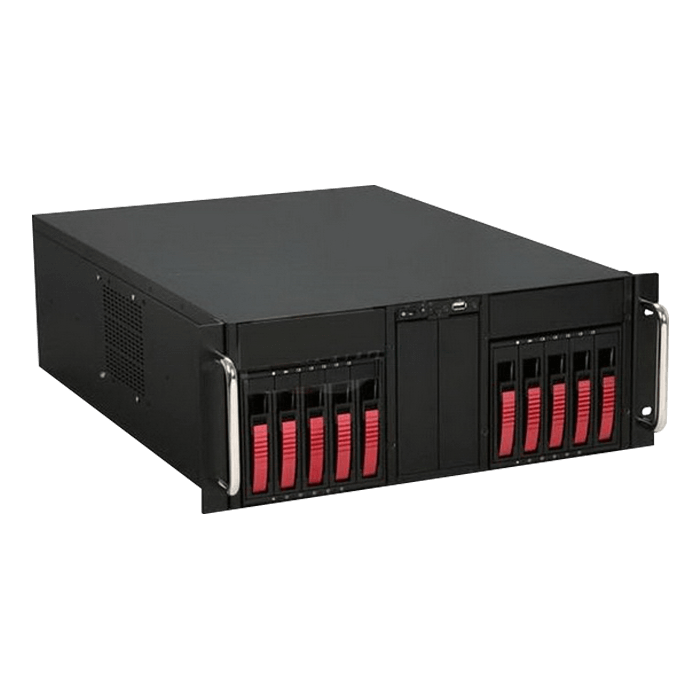 "D Storm D410-B10RD, Red HDD Handle, 4x 5.25"" Drive Bays, 10x 3.5"" Hotswap Bays, No PSU, E-ATX, Black/Red, 4U Chassis"