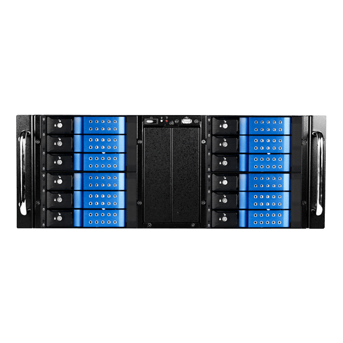 "D Storm D410-DE12BL, Blue HDD Handle, 12x 3.5"" Hotswap Bays, No PSU, E-ATX, Black/Blue, 4U Chassis"