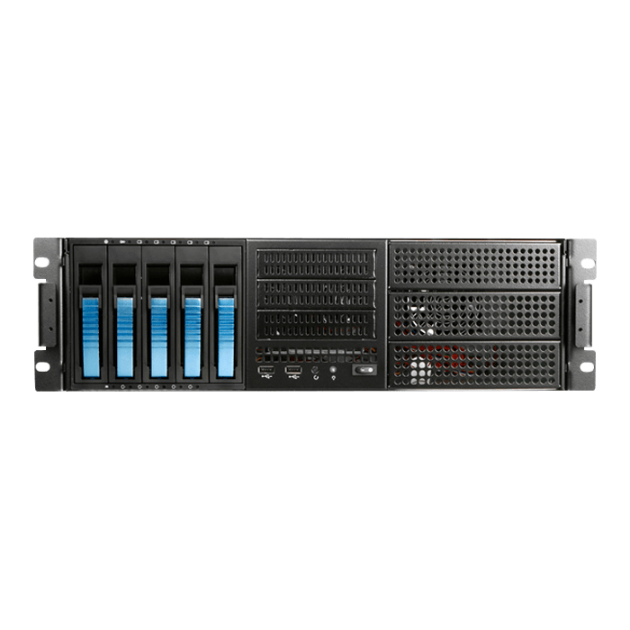 "E306L-B5BL, Blue HDD Handle, 3x 5.25"", 3x 3.5"" Drive Bays, 5x 3.5"" Hotswap Bays, No PSU, E-ATX, Black/Blue, 3U Chassis"