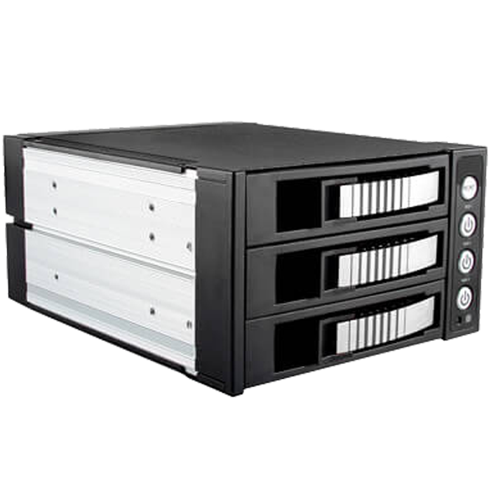 "BPU-230SATA, 2x 5.25"" to 3x 3.5""/2.5"", SAS/SATA 6Gb/s, SSD/HDD, Silver Hot Swap Module"