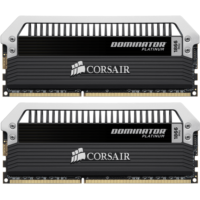 16GB Kit (2 x 8GB) Dominator Platinum DDR3 1866MHz, PC3-15000, CL10 (10-11-10-30) 1.5V, Non-ECC, Black/Silver, DIMM Memory