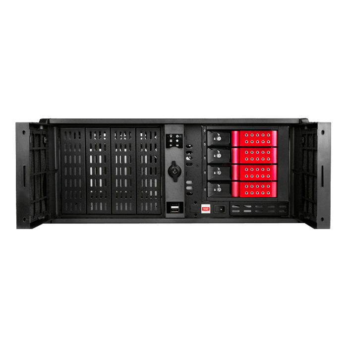 "D Storm D407P-DE4RD, Red HDD Handle, 4x 5.25"", 2x 3.5"" Drive Bays, 4x 3.5"" Hotswap Bays, No PSU, ATX, Black/Red, 4U Chassis"