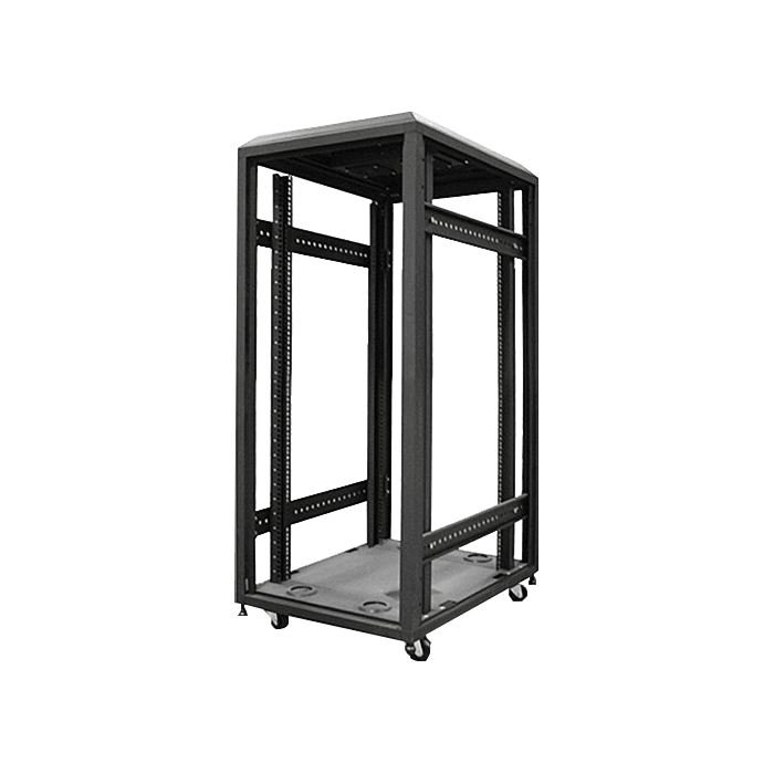 WX-228-EX, 22U, 4-Post 800mm, Open Frame Rack With Widened Mounting Posts