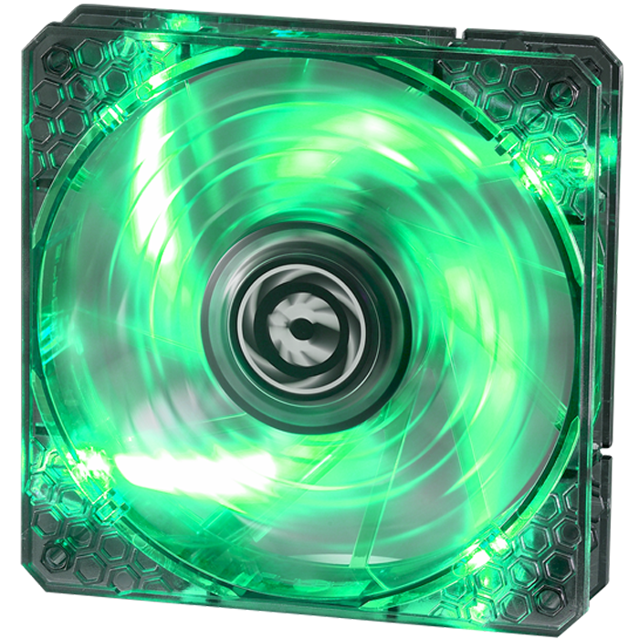 Spectre PRO LED 120mm, Green LEDs, 1200 RPM, 56.22 CFM, 18.9 dBA, Cooling Fan