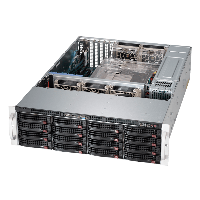 SuperStorage Server 6037R-E1R16L, 3U, Intel C602, 16x SATA/SAS, 16x DDR3, Quad 1Gb Ethernet, 920W Rdt PSU
