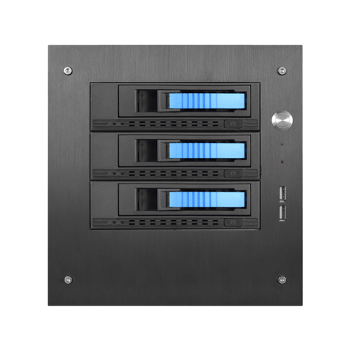 "S-35-3M1BL, Blue HDD Handle, 3x 3.5"" Hotswap Bays, No PSU, Black/Blue, Storage Mini Tower"
