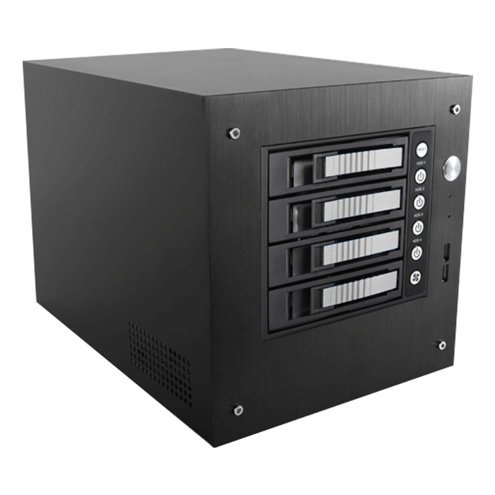 "S-35-B4SL, Silver HDD Handle, 4x 3.5"" Hotswap Bays, 1x 2.5"" Drive Bay, No PSU, Mini-ITX, Black/Silver, Storage Mini Tower"