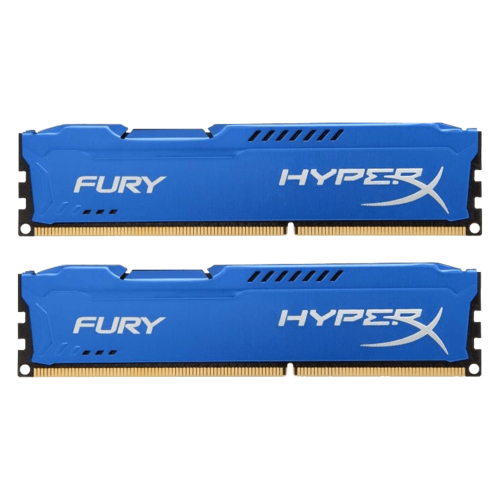 8GB Kit (2 x 4GB) HyperX Fury DDR3 1600MHz, PC3-12800, CL10 (10-10-10) 1.5V, Non-ECC, Blue, DIMM Memory
