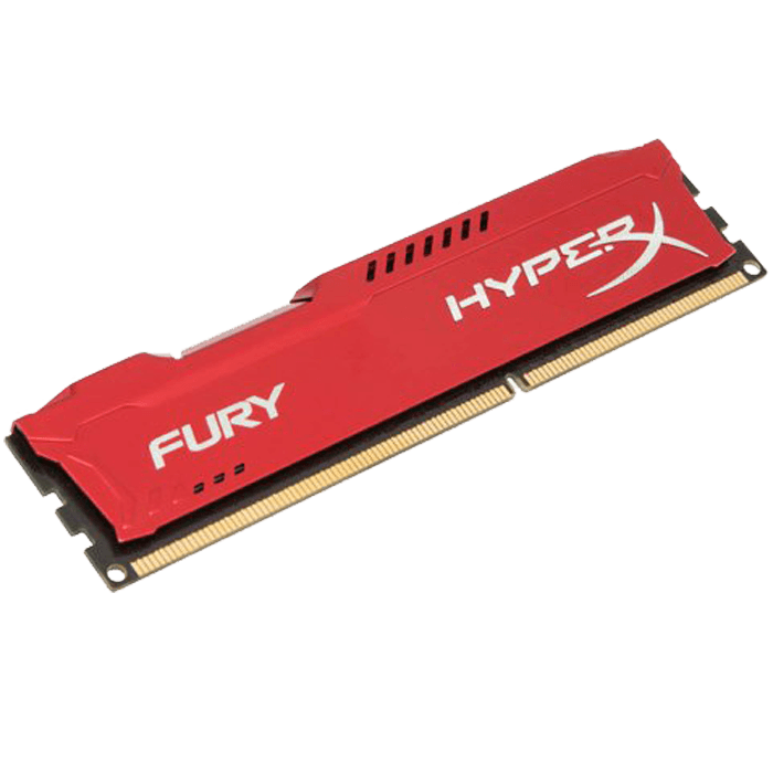 4GB HyperX Fury DDR3 1600MHz, PC3-12800, CL10 (10-10-10) 1.5V, Non-ECC, Red, DIMM Memory