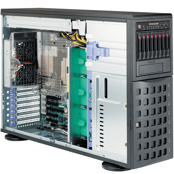 SuperServer 7048R-C1RT, 4U/Tower, Intel C612, 16x SAS/SATA, LSI 3108 12Gbps SAS, 16x DDR4, Dual 10Gb Ethernet, 920W Rdt PSU