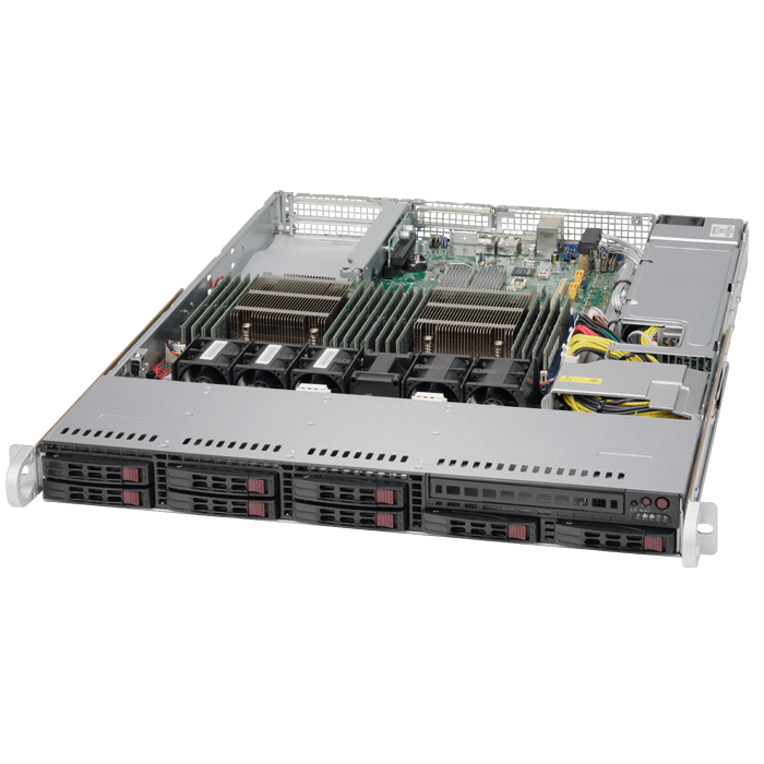 SuperServer 1028R-TDW, 1U, Intel C612, 8x SATA, 16x DDR4, Dual 1Gb Ethernet, 600W Rdt PSU