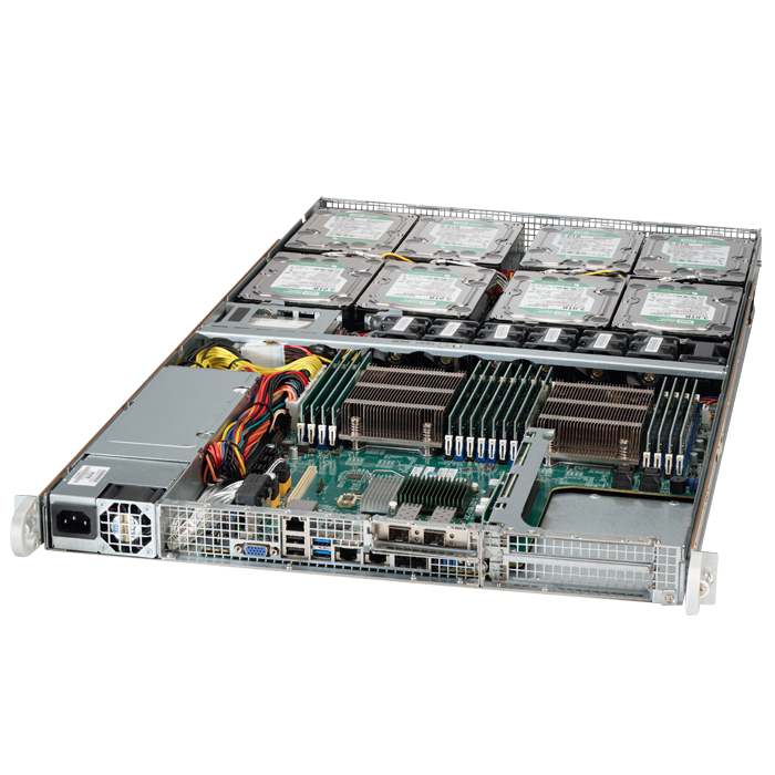 SuperServer 6018R-TD8, 1U, Intel C612, 10x SATA, 16x DDR4, Dual 1Gb Ethernet, 650W PSU