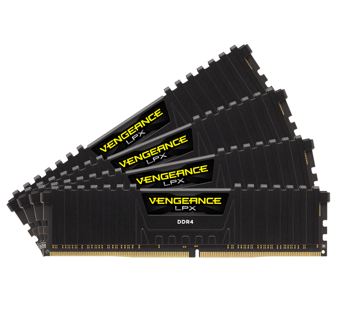 16GB Kit (4 x 4GB) Vengeance LPX DDR4 2666MHz, CL16, Black, DIMM Memory