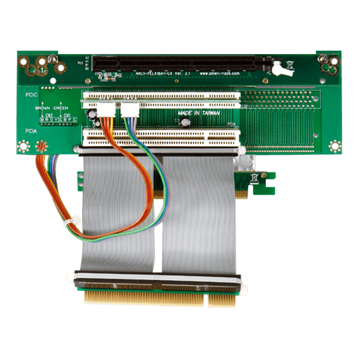 DD-754611-C7, 1 PCIe x16 and 2 PCI Riser Card with 7cm Ribbon Cable