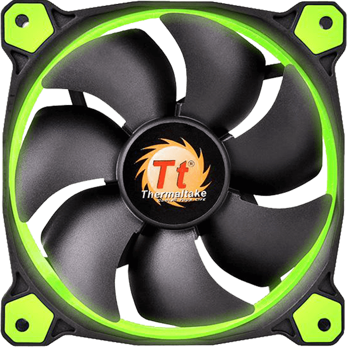 Riing 14 LED 140mm, Green LEDs, 1400 RPM, 51.15 CFM, 28.1 dBA, Cooling Fan