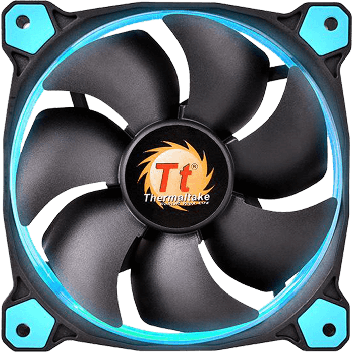 Riing 12 LED 120mm, Blue LEDs, 1500 RPM, 40.6 CFM, 24.6 dBA, Cooling Fan