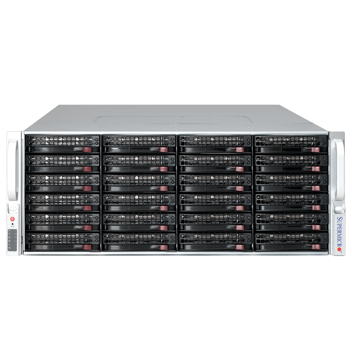 SuperStorage Server 6048R-E1CR36L, 4U, Intel C612, 36x SAS/SATA, LSI 3008 12Gbps SAS, 16x DDR4, Dual 10Gb Ethernet, 1280W Rdt PSU