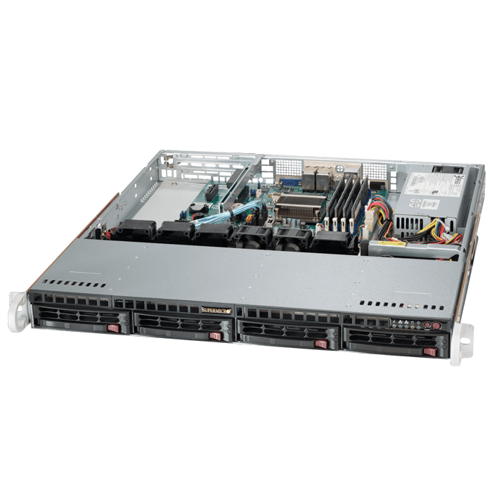 SuperServer 5018A-MLHN4, 1U, Intel Atom C2550, 4x SATA, 4x DDR3, Quad 1Gb Ethernet, 200W PSU