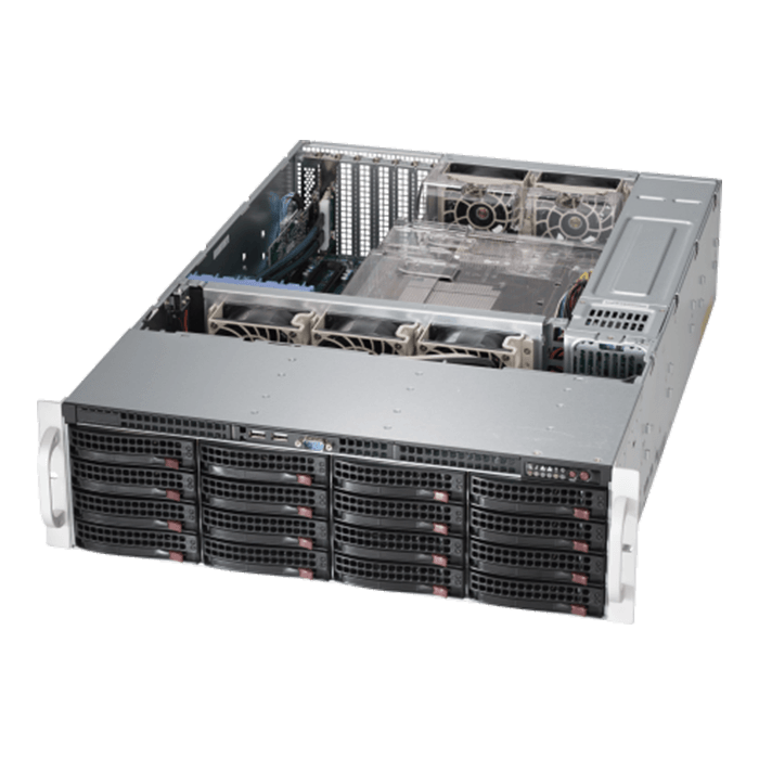 SuperStorage Server 6038R-E1CR16L, 3U, Intel C612, 16x SATA/SAS, LSI 3008 12Gbps SAS, 16x DDR4, Dual 10Gb Ethernet, 920W Rdt PSU
