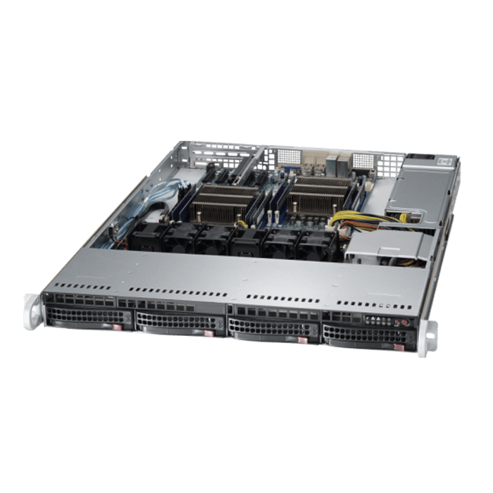 SuperServer 6018R-TDTP, 1U, Intel C612, 4x SATA, 8x DDR4, Dual 10Gb SFP+ Ethernet, 600W PSU