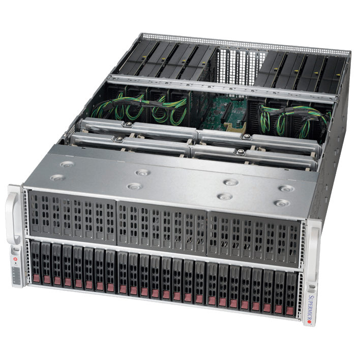 SuperServer 4028GR-TRT, 4U, Intel C612, 24x SATA, 24x DDR4, Dual 10Gb Ethernet, 2x 1600W Rdt PSU