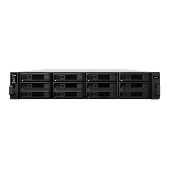 RackStation RS2416+ 2U NAS Server, Intel® Atom C2538, DDR3-1600 6GB ECC DIMM / 2, SATA3 / 12, GbLAN / 4, 500W Rdt PSU