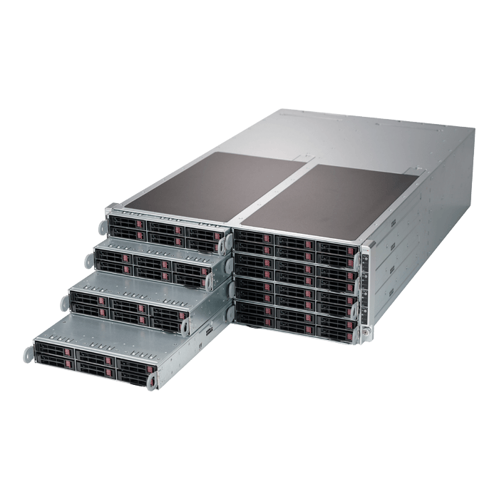 SuperServer F619P2-RTN, 4U FatTwin, Intel C621, 48x SATA or 16x SATA/32x NVMe, 96x DDR4, 8x SIOM flexible Network card, 2200W Rdt PSU