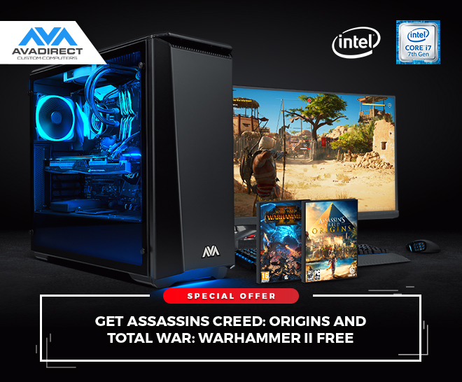 Get Assassin's Creed: Origins AND Total War: Warhammer II, FREE with your purchase of select Unlocked Intel Core i7 desktop processors