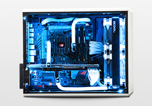liquid cooled mini gaming PC with arctic ice cube theme