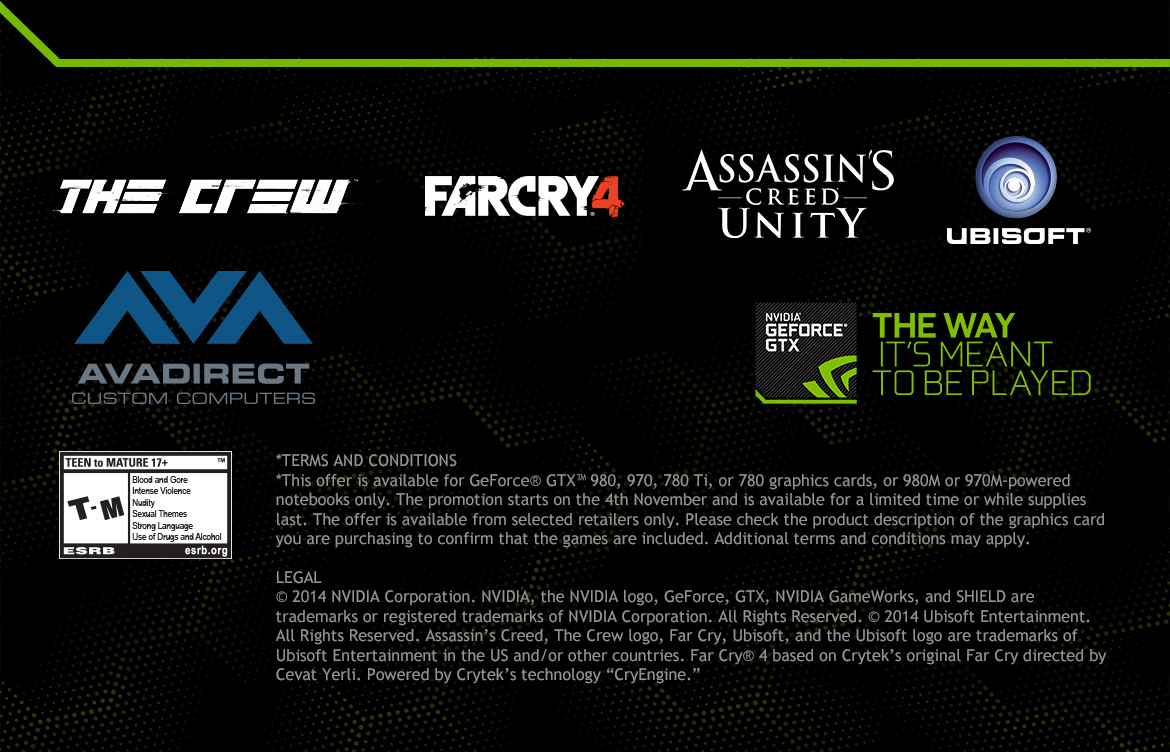 PICK YOUR PATH - Buy a GeForce GTX Card or Notebook and Choose Your Free Ubisoft Game