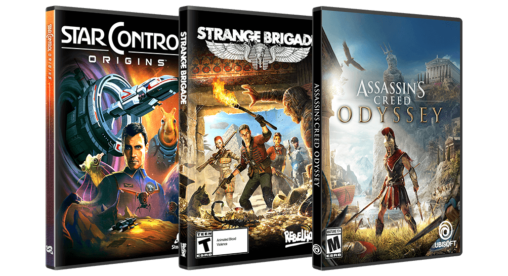 Assassin's Creed Odyssey, Strange Brigade, and Star Control: Origins Boxes