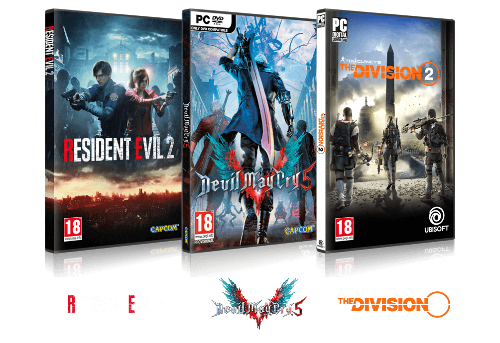 Resident Evil 2, Devil MayCry5, Tom Clancys The Division