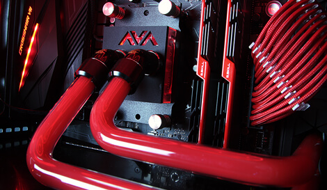Brimstone gaming pc CPU liquid cooling angle