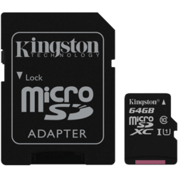 64GB Class 10/UHS-I 45 MB/s Read 10 MB/s Write microSDXC Memory Card with SD Adapter
