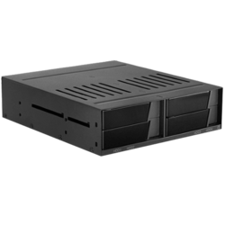 "BPX-124-SA, 1x 5.25"" to 4x 2.5"", SATA 6Gb/s, SSD/HDD, Black Hot Swap Rack"