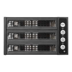 "BPU-230SATA-KL 2x 5.25"" to 3x 3.5"" 2.5"" SAS SATA 6 Gbps HDD SSD Hot-swap Rack with Key Lock"