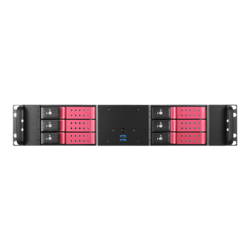 "D-260HN-RED, Red HDD Handle, 6x 3.5"" Hotswap Bays, No PSU, microATX, Black, 2U Chassis"