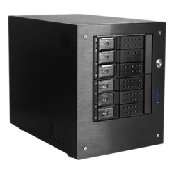 "S-46-DE6BK, 6x 3.5"" Hotswap Bays, No PSU, Mini-ITX, Black, Mini Tower Chassis"