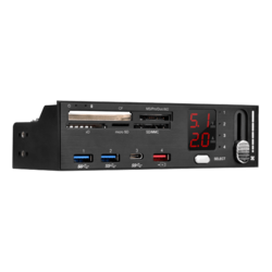 "FP59B, Internal, 5.25"" Bay, All-in-one w/ Fan Controller, USB 3.1 Gen 1 HUB (2xType-A, 1xType-C) Card Reader"