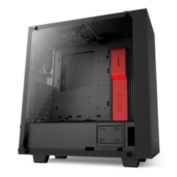 Source Series S340 Elite Tempered Glass, No PSU, ATX, Black/Red, Mid Tower Case