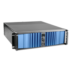 "D Storm D-300LSEA-80S2UP8, 4x 5.25"" and 3x 3.5"" Drive Bays, 800W Rdt PSU, E-ATX, Black-Blue, 3U Chassis"