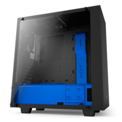 Source Series S340 Elite Tempered Glass, No PSU, ATX, Black/Blue, Mid Tower Case