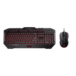 Cerberus Combo, Red/Blue LED, 2500 dpi, Wired USB, Black, Gaming Keyboard & Mouse