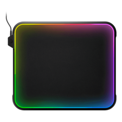 QcK Prism RGB, Hard Polymer, Cloth, Silicon Rubber base, Black, Gaming Mouse Mat