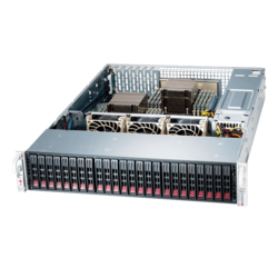 SuperServer 2029P-E1CR24H, 2U, Intel C624, 24x SATA/SAS, 16x DDR4, 3x Broadcom 3108 AOC, Dual 10Gb Ethernet, 1200W Rdt PSU