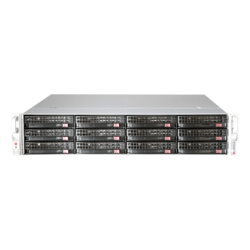 SuperServer 6029P-E1CR12T, 2U, Intel C624, 12x SATA/SAS, 16x DDR4, Broadcom 3108 AOC, Dual 10Gb Ethernet, 1200W Rdt PSU